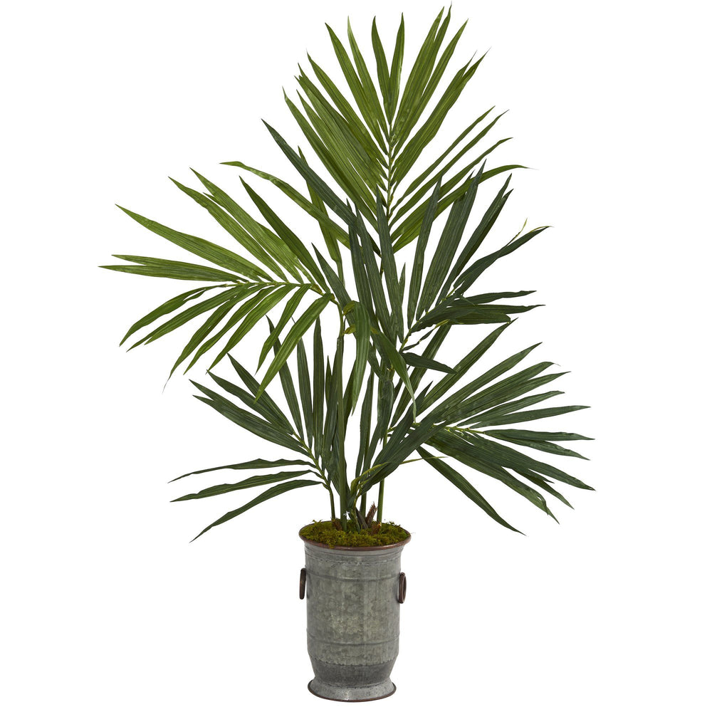 "51"" Kentia Artificial Palm Tree in Vintage Metal Planter"