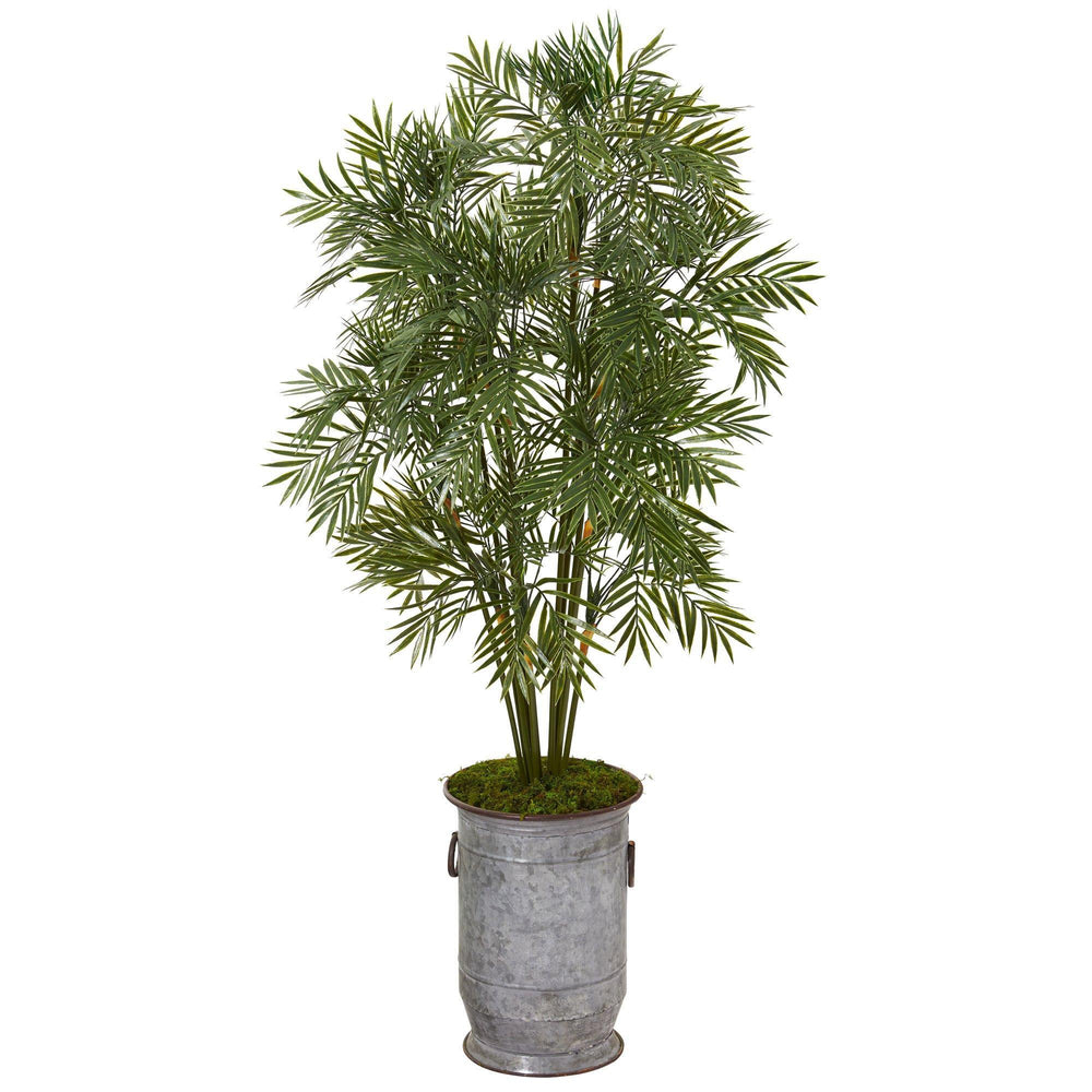 "51"" Parlor Palm Artificial Tree in Vintage Metal Planter"