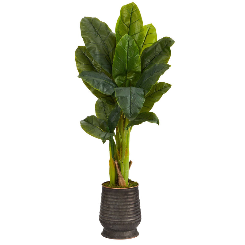 "51"" Triple Stalk Artificial Banana Tree in Ribbed Metal Planter (Real Touch)"