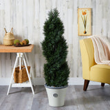 "52"" Double Pond Cypress Spiral Topiary Artificial Tree in Planter UV Resistant (Indoor/Outdoor)"