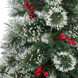 "52"" Frosted Swiss Pine Artificial Christmas Tree with 100 Clear LED Lights and Berries in Red Tower Planter"