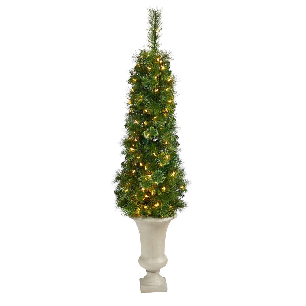 "52"" Green Pencil Artificial Christmas Tree with 100 Clear (Multifunction) LED Lights and 140 Bendable Branches in Sand Colored Urn"
