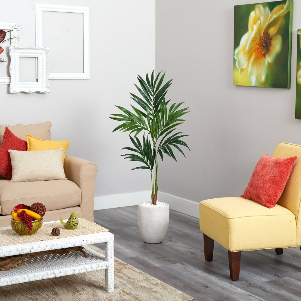 "52"" Kentia Artificial Palm Tree in White Planter"