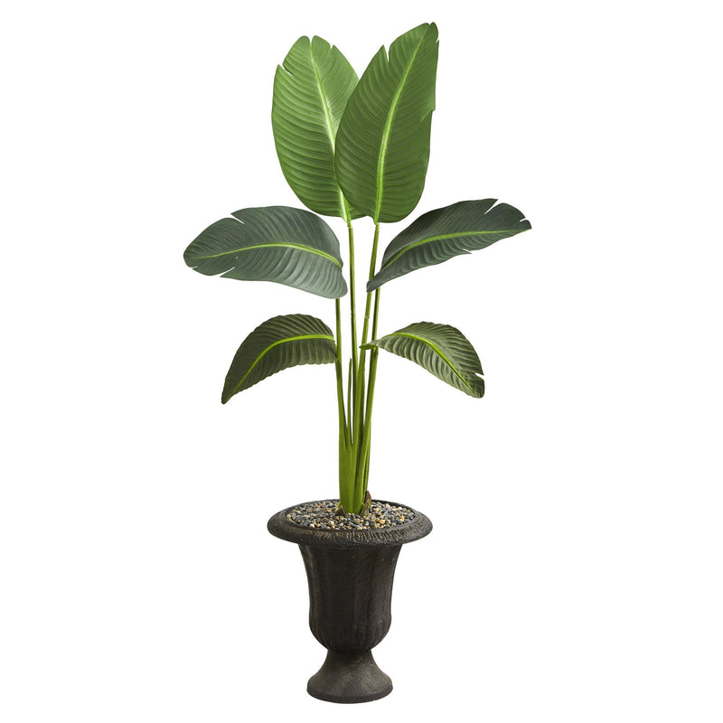 "52"" Traveler's Palm Artificial Plant in Charcoal Urn (Real Touch)"