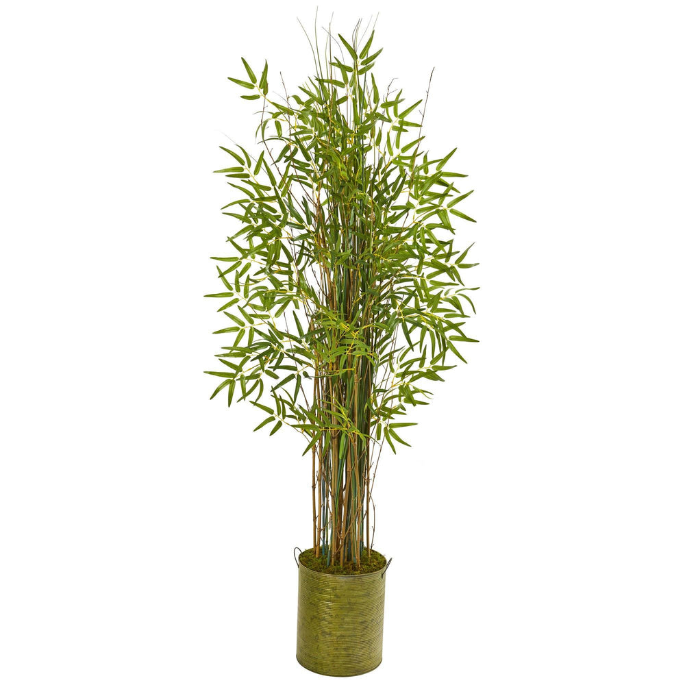 53 Bamboo Grass Artificial Plant In Green Metal Planter Nearly
