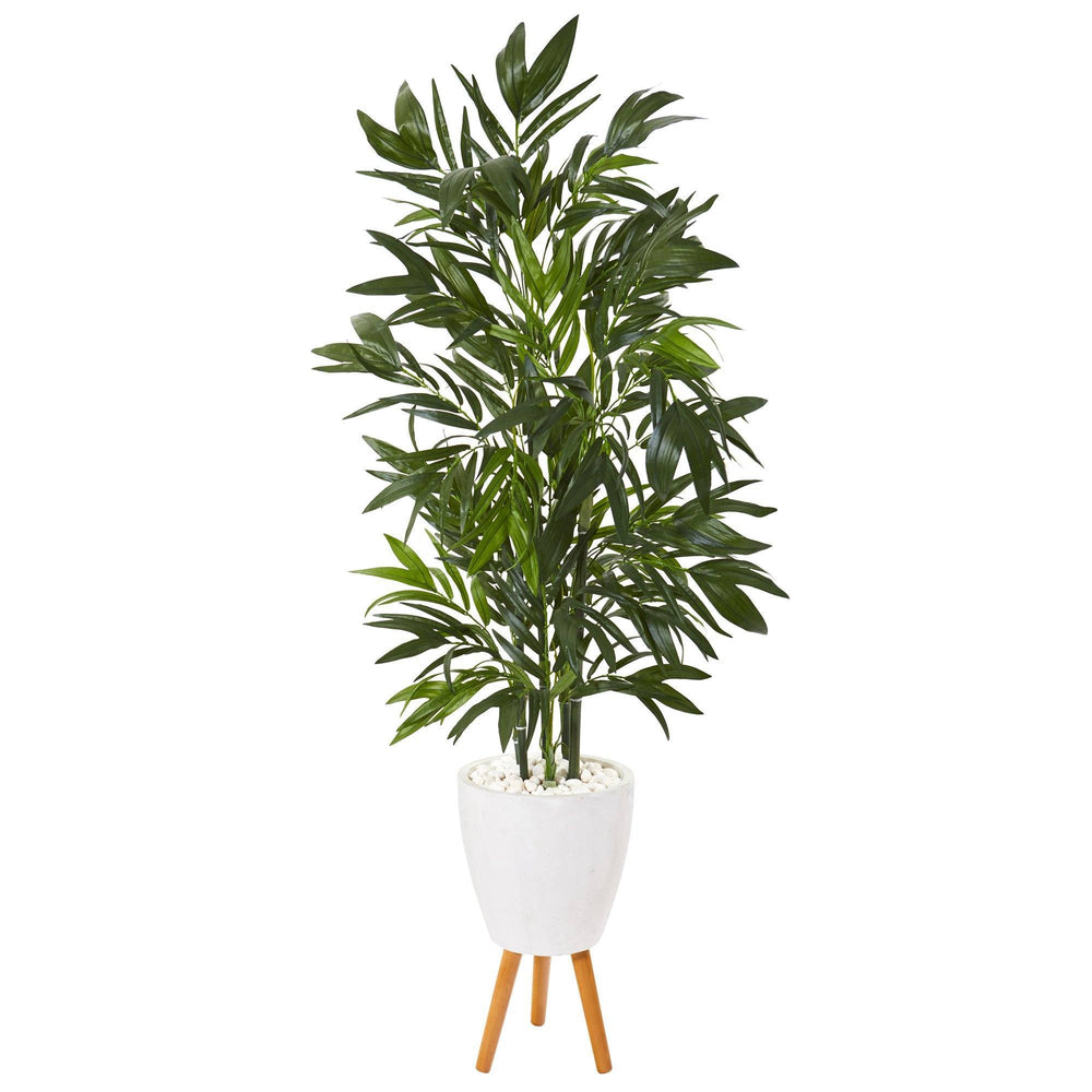 "53"" Bamboo Palm Artificial Tree in White Planter with Stand"