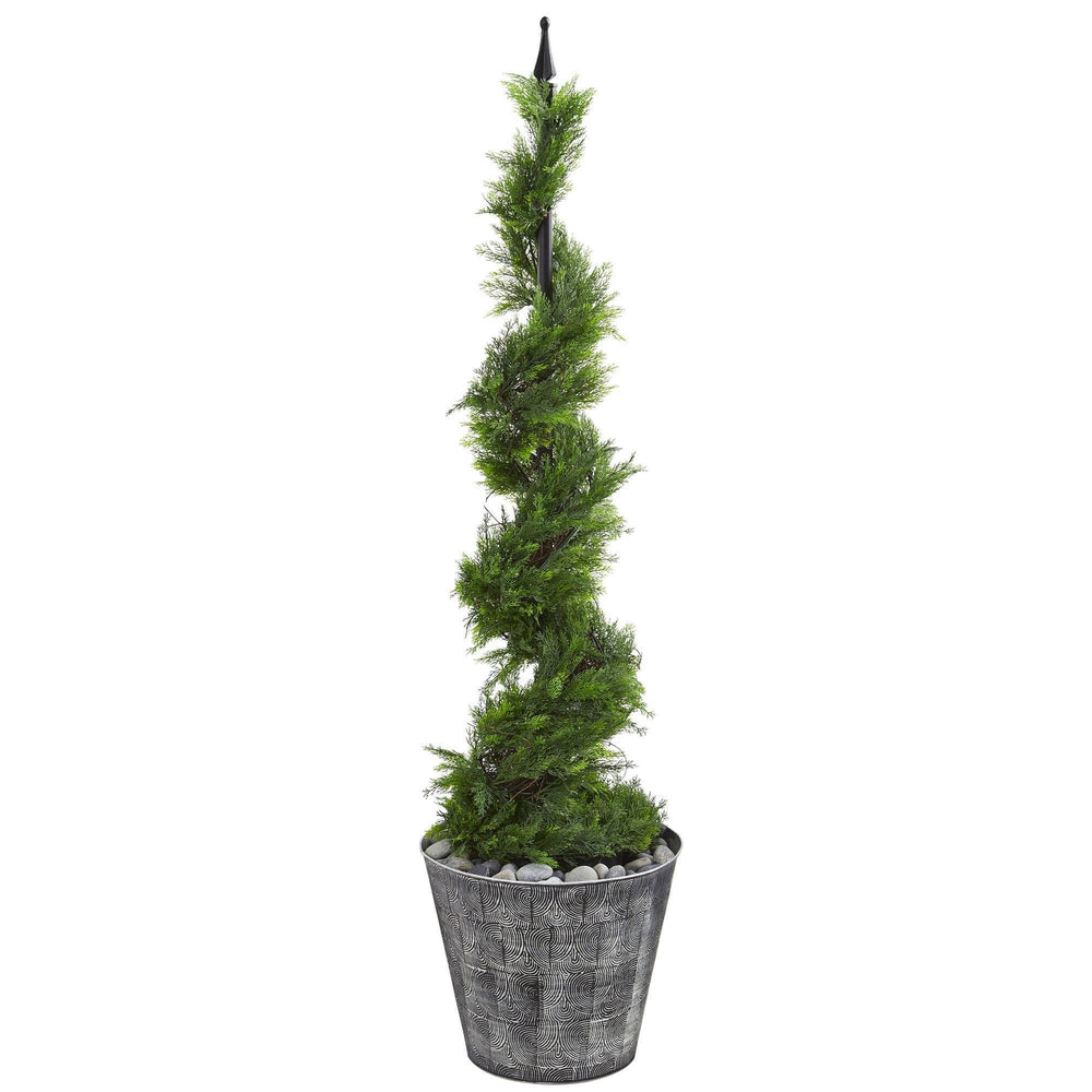 "53"" Cypress Artificial Spiral Topiary Tree in Black Embossed Tin Planter"
