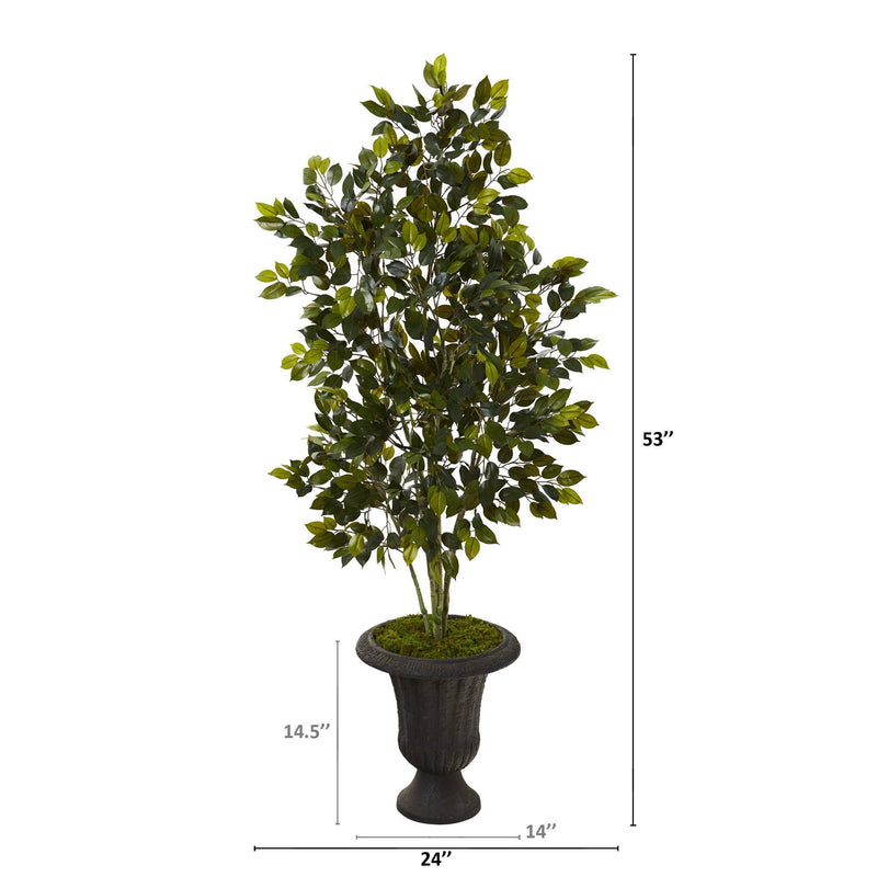"53"" Ficus Artificial Tree in Charcoal Urn"