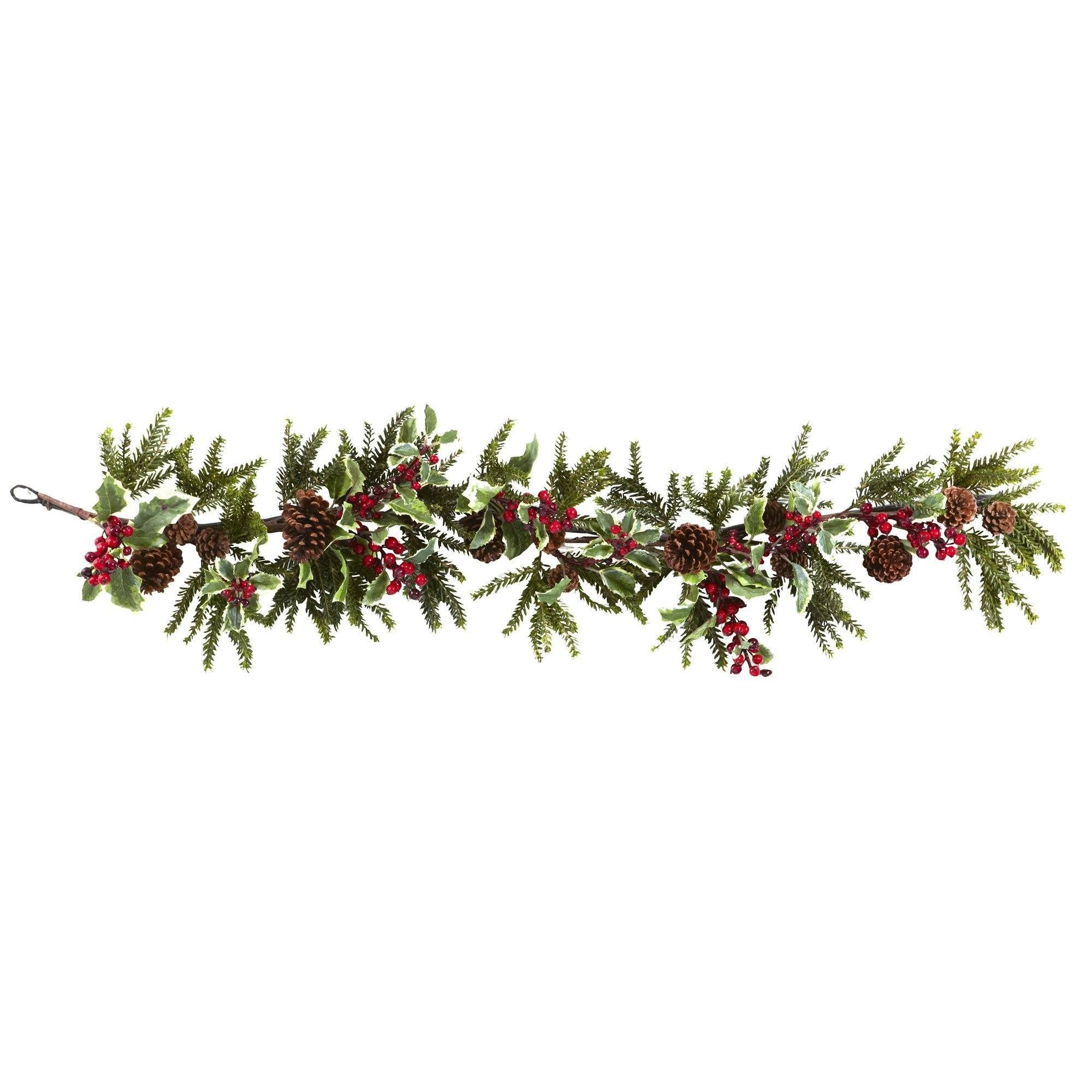 54 Holly Berry Garland Nearly Natural
