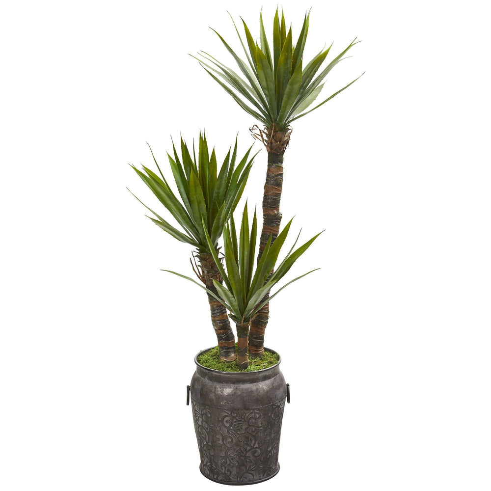 54 Yucca Artificial Tree In Metal Planter Nearly Natural