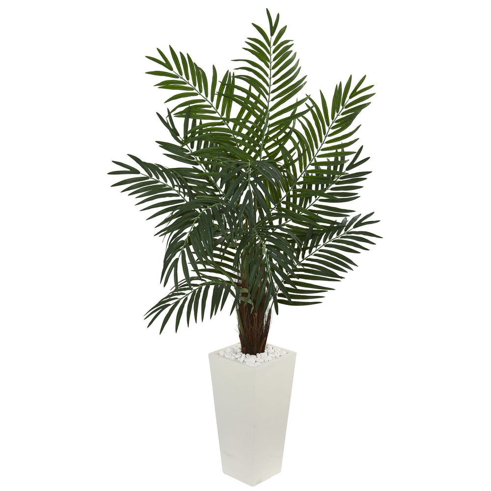 5 5 Areca Artificial Palm Tree In White Tower Planter Nearly Natural