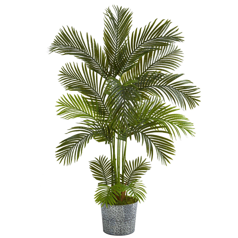 5.5' Areca Palm Artificial Tree in Embossed Black Tin Planter