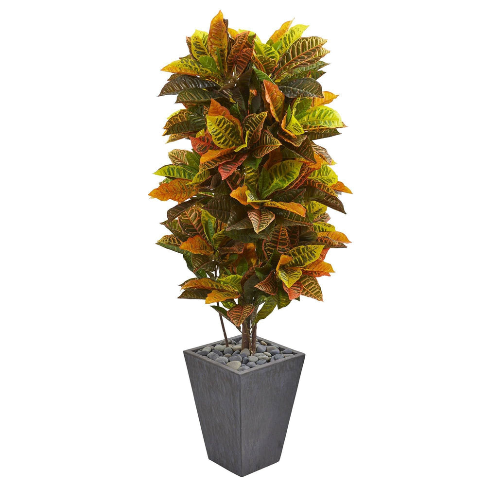 5 5 Croton Artificial Plant In Slate Planter Real Touch Nearly Natural