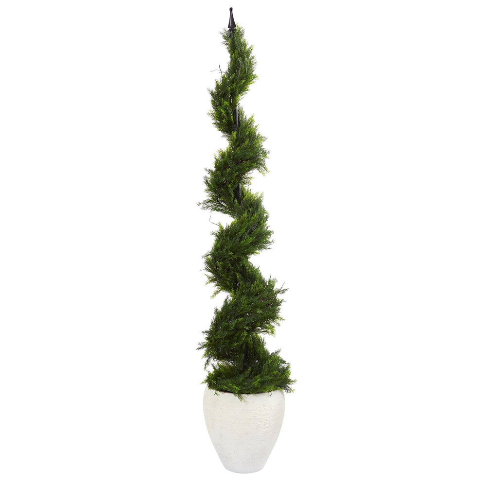 5.5' Cypress Artificial Spiral Tree in White Planter
