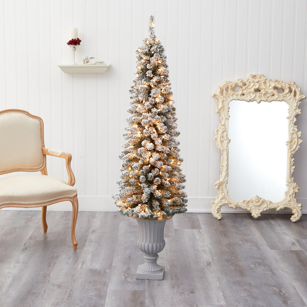 5.5' Flocked Pencil Artificial Christmas Tree with 200 Clear Lights and 318 Bendable Branches in Decorative Urn