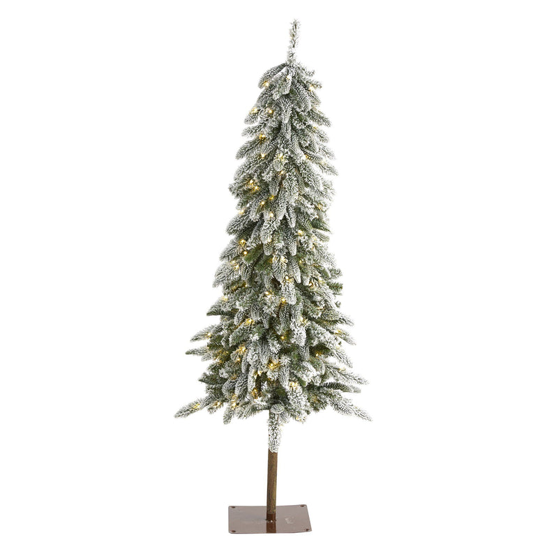 5.5' Flocked Washington Alpine Christmas Artificial Tree with 150 White Warm LED Lights and 377 Bendable Branches
