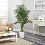 5.5' Golden Cane Artificial Palm Tree in White Metal Planter