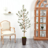 5.5' Olive Artificial Tree in Bronze Metal Planter