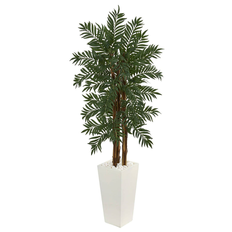 5.5' Parlor Palm Artificial Tree in White Tower Planter