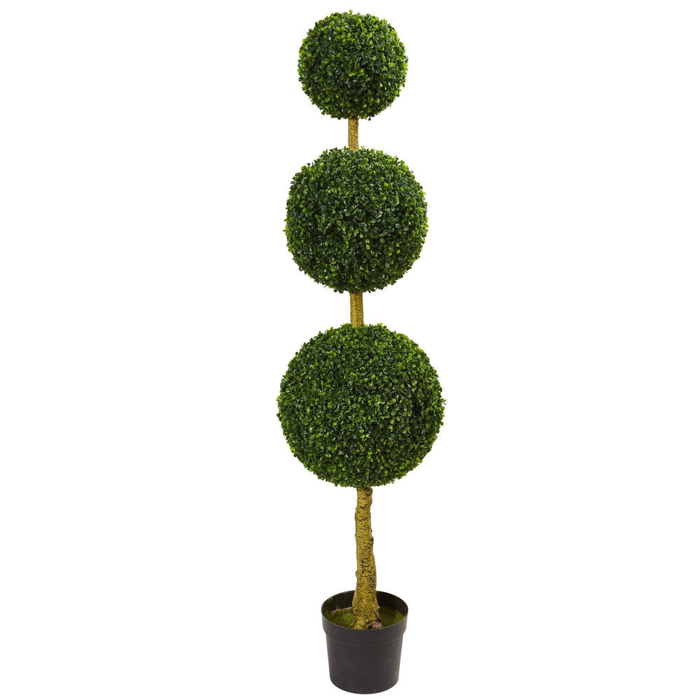 5.5' Triple Ball Boxwood Artificial Topiary Tree UV Resistant (Indoor/Outdoor)