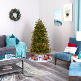 5.5' Yukon Mountain Fir Artificial Christmas Tree with 250 Clear Lights, Pine Cones and 800 Bendable Branches