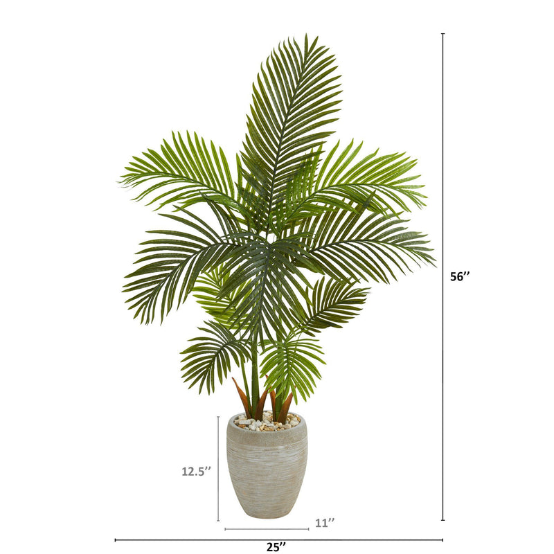"56"" Areca Palm Artificial Tree in Sand Colored Planter"