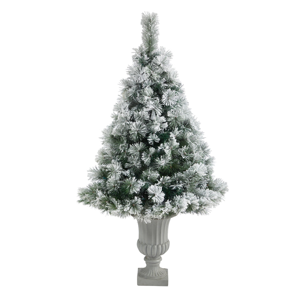 "56"" Flocked Oregon Pine Artificial Christmas Tree with 100 Clear Lights and 215 Bendable Branches in Decorative Urn"