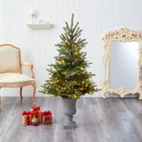 "56"" North Carolina Spruce Artificial Christmas Tree with 100 Clear Lights and 207 Bendable Branches in Decorative Urn"