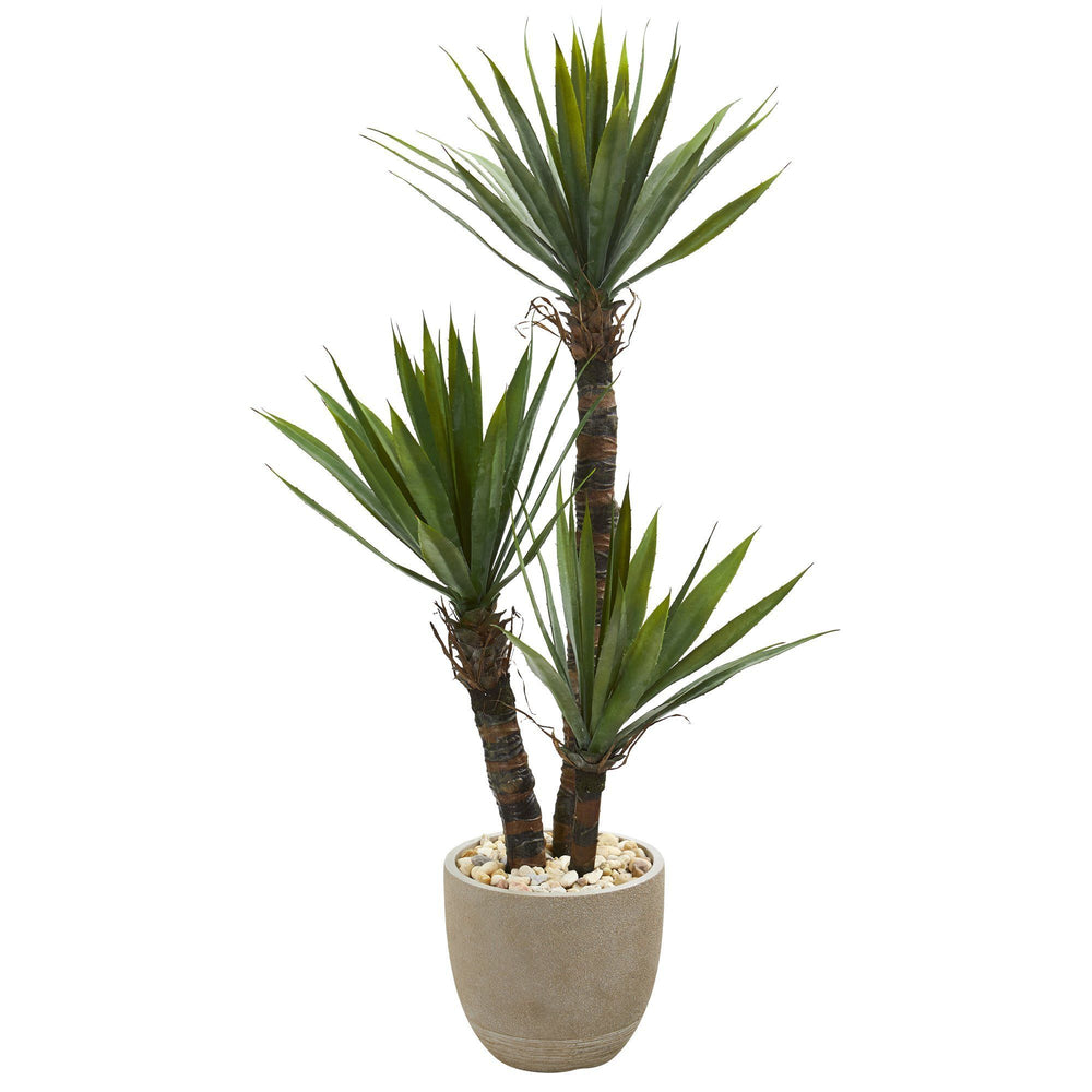56 Yucca Artificial Tree In Sandstone Planter Nearly Natural