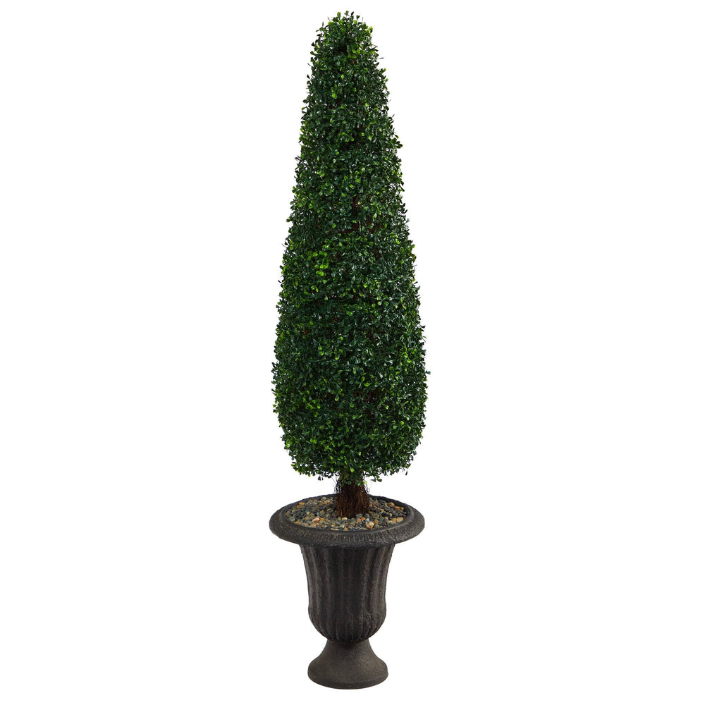 "57"" Boxwood Topiary Artificial Tree in Charcoal Urn UV Resistant (Indoor/Outdoor)"