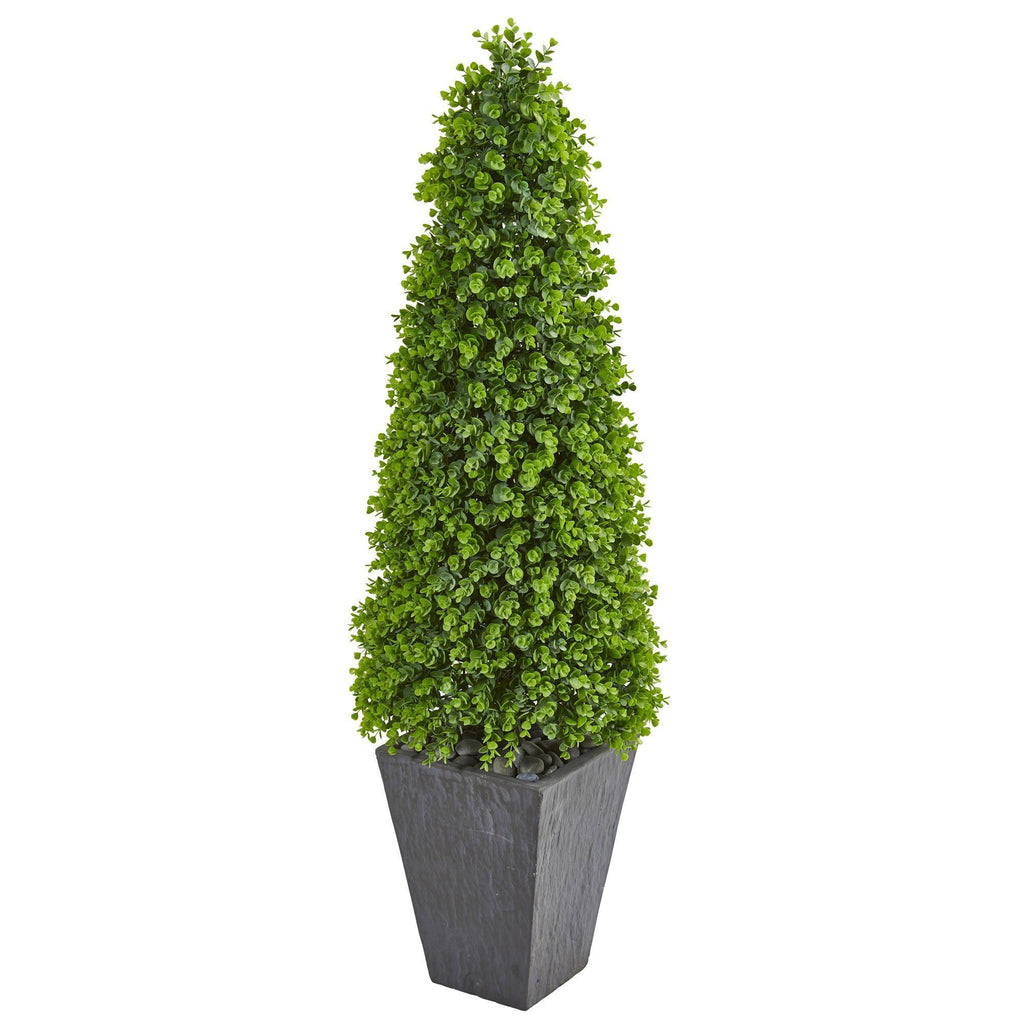 57 Eucalyptus Topiary Artificial Tree In Slate Planter Indoor Outdoor Nearly Natural