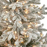 "57"" Flocked Fraser Fir Artificial Christmas Tree with 300 Warm White Lights and 967 Bendable Branches in Tower Planter"