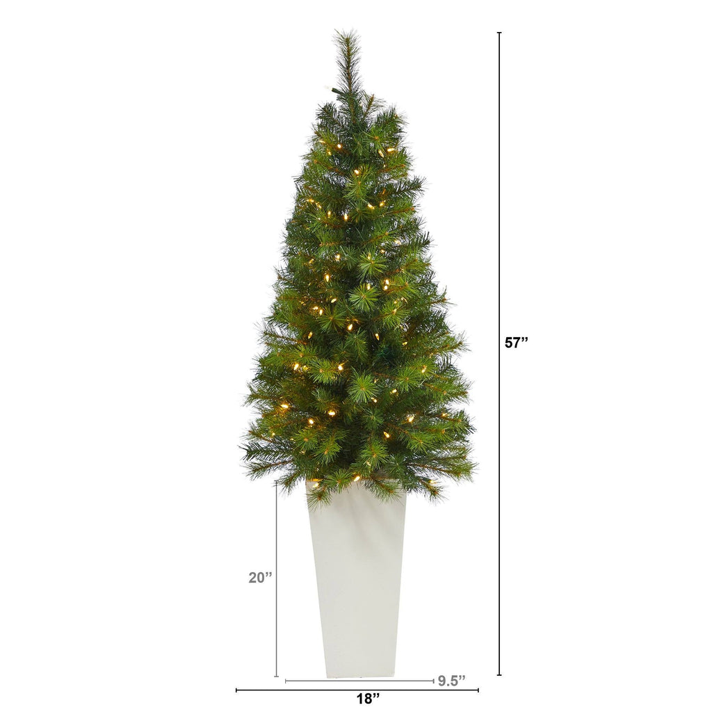 """57"""" Green Valley Pine Artificial Christmas Tree with 100 ..."""