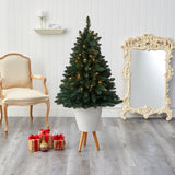 "57"" Northern Rocky Spruce Artificial Christmas Tree with 100 Clear Lights and 322 Bendable Branches in White Planter with Stand"