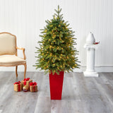 "57"" Vancouver Fir ""Natural Look"" Artificial Christmas Tree with 250 Clear LED Lights and 814 Bendable Branches in Red Tower Planter"