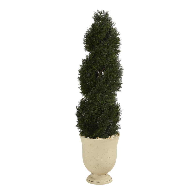 "58"" Double Pond Cypress Spiral Topiary Artificial Tree in Planter UV Resistant (Indoor/Outdoor)"
