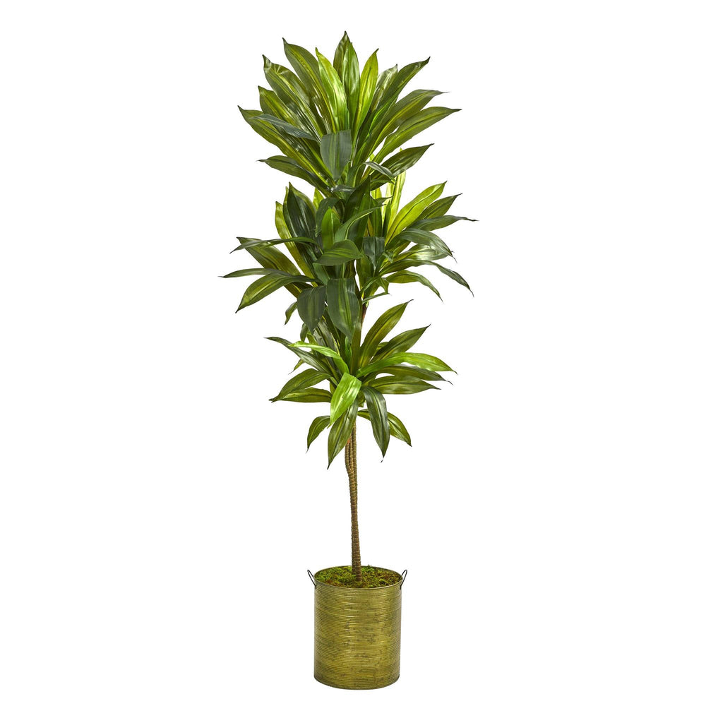 "58"" Dracaena Artificial Plant in Green Metal Planter (Real Touch)"