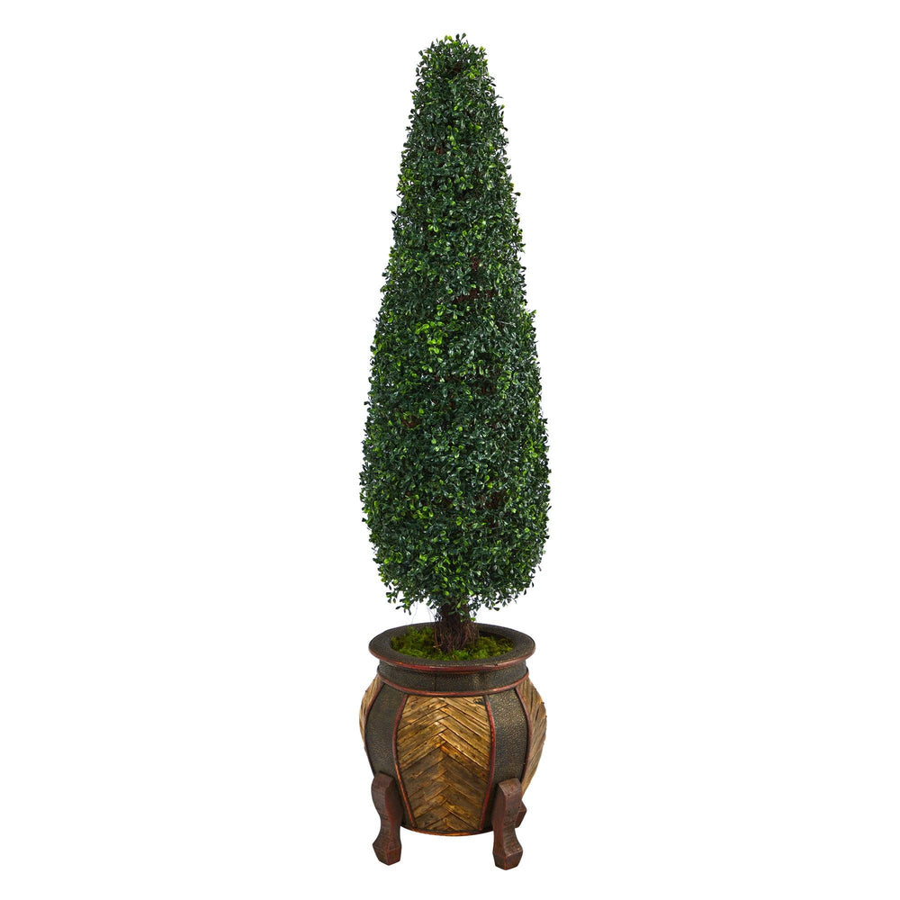 "59"" Boxwood Topiary Artificial Tree in Decorative Planter UV Resistant (Indoor/Outdoor)"
