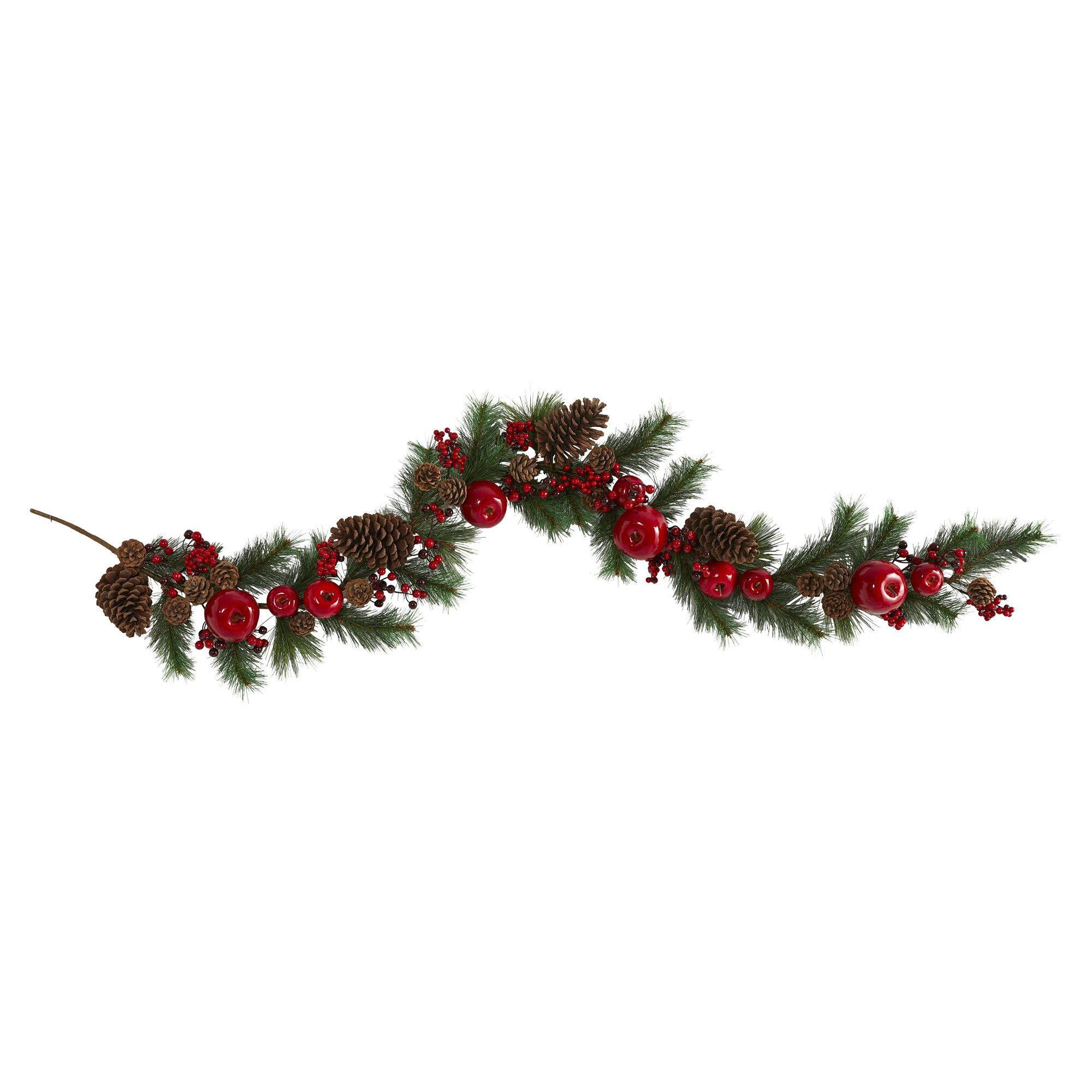 6 Apple Berries And Pinecone Artificial Garland Nearly Natural