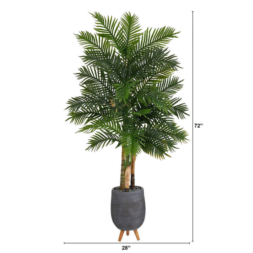6' Areca Palm Artificial Tree in Gray Planter with Stand (Real Touch)