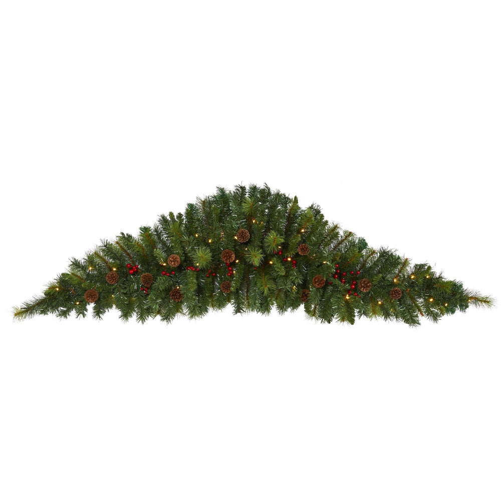 6' Artificial Christmas Swag with 50 LED Lights, Berries and Pine Cones