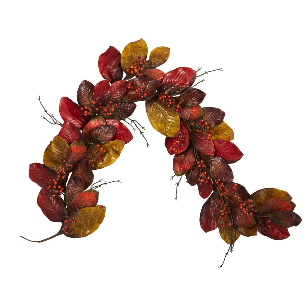 6' Autumn Magnolia Leaf with Berries Artificial Garland