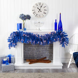6' Blue Artificial Christmas Garland with 50 Warm White Lights