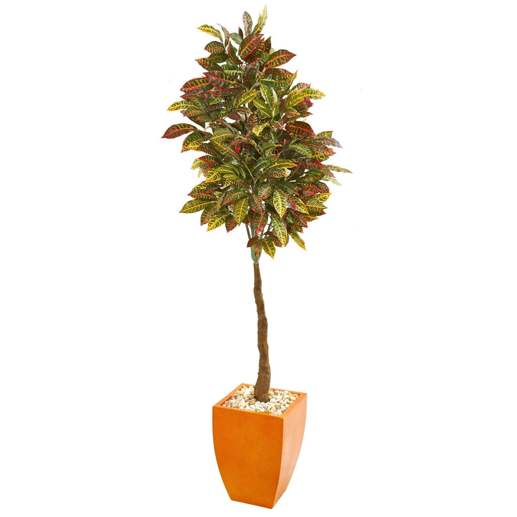 6 Croton Artificial Tree In Orange Planter Nearly Natural