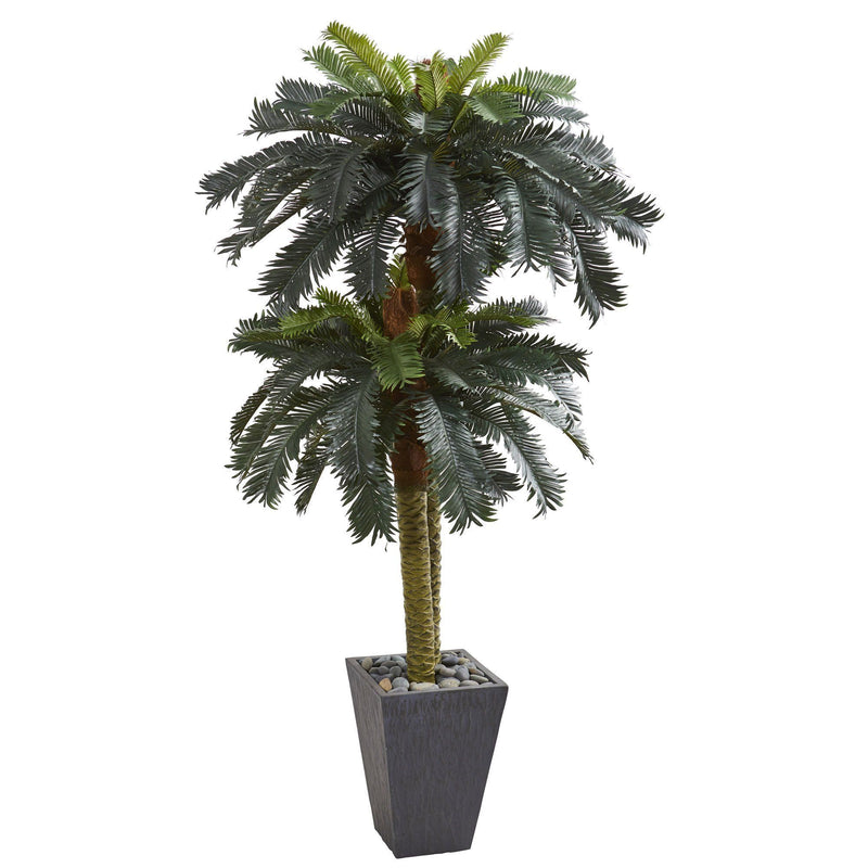 6' Double Sago Palm Artificial Tree Slate Finished Planter