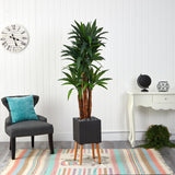 6' Dracaena Artificial Tree in Black Planter with Stand