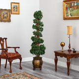6' English Ivy Topiary Spiral Artificial Tree in Decorative Planter UV Resistant (Indoor/Outdoor)