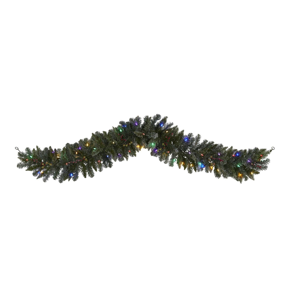 6' Flocked Artificial Christmas Garland with 50 Multicolored LED Lights and Berries