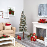 6' Flocked Grand Alpine Artificial Christmas Tree with 300 Lights and 601 Branches on Natural Trunk