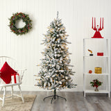 6' Flocked Livingston Fir Artificial Christmas Tree with Pine Cones and 300 Clear Warm LED Lights